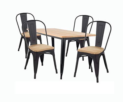 Conjunto 1 Mesa y 4 Sillas, Estructura en Metal Negro Mate, Tapa y Asiento en Madera Color Natural Dim.cm.80x80x76h