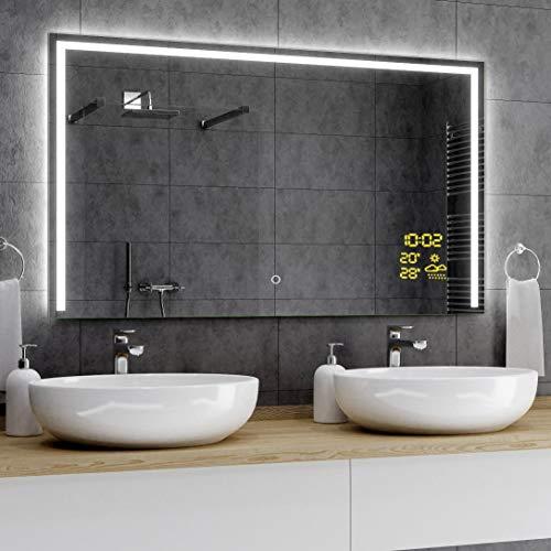 Alasta® Premium Badkamerspiegel met Verlichting - 140x80 cm - Model Sídney - Spiegel met Aanraaklichtschakelaar en Weerstation P1