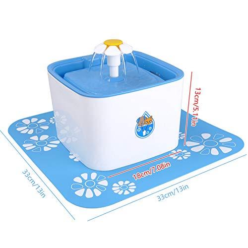 YAOHM Automatische waterfontein voor honden en katten, met nachtlampje, 2,2 l, automatische voerautomaat voor huisdieren, met waterfilter, EU-stekker