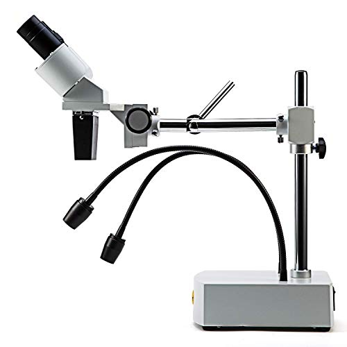 USB microscope Professionelles binokulares Sezierstereomikroskop, 10-fache / 20-fache Vergrößerung mit 10-fachen und 20-fachen Weitfeldokularen, 2 Flexible LED-Leuchten, Schwenkarm, Kamera-kompatibel