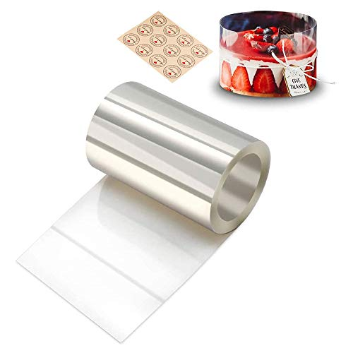 Gutsdoor Cake Collars 3.1 x 394inch, Acetate Rolls, Clear Cake Mousse Strips, Transparent Cake Rolls, Cake Acetate Sheets for Chocolate Mousse Baking Cake Decorating
