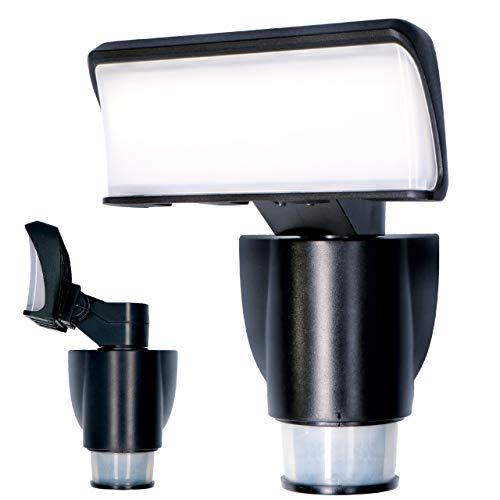 proventa® LED-Strahler mit automatischer Bewegungsverfolgung, 180° Schwenkbereich, 270° Bewegungsmelder, Lichtfarbe 4.000 K, 18 Watt,1.200 Lumen, IP44, Gehäusefarbe schwarz