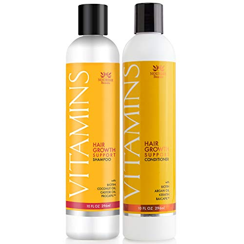 Nourish Beaute Vitamins Natural Shampoo and Conditioner for Hair Growth and Hair Loss for Hair Regrowth,Volume and Thickening with Biotin,DHT Blockers,No Sulfate, For Men and Women, 2 Pk