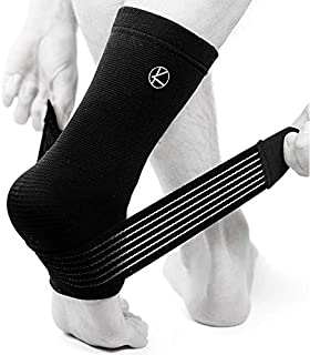 Achilles Tendonitis Brace & Ankle Sleeve for Plantar Fasciitis with Compression Wrap - Best Ankle Support for Women, Men, Pain, Sprained Ankle, Heel Spur, Arch Support, Swelling, Tendon (Black)