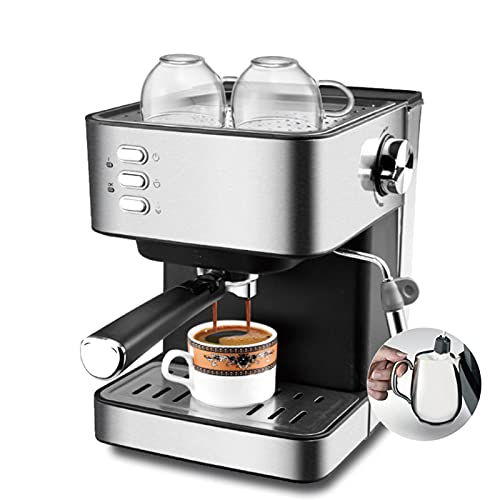 GAOXQ Máquina De Café Espresso Máquina De Café De 15 Barras con Varilla De Espuma De Leche para Espresso, Capuchino, Café con Leche Y Moca, Barista Casero, Acero Inoxidabl Black