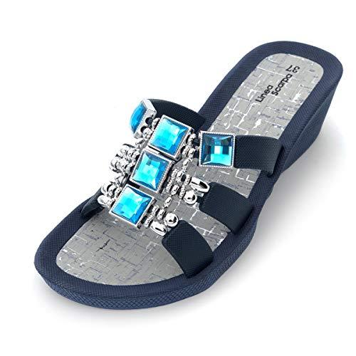 Linea Scarpa Samoa - Zapatillas de baño para mujer con tacón, azul marino, 41 EU