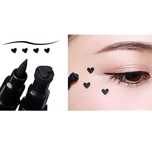 QingTanger Trendy Black Waterproof Liquid Eyeliner Pencil Star Heart Shape Dot Stamp