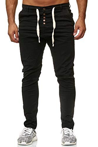 Reslad Herren Chino Hose Männer Jogger Freizeithose Chino-Hose Slim Fit Herren Hose Cargo Chinos Jeans RS-2093 Schwarz W30