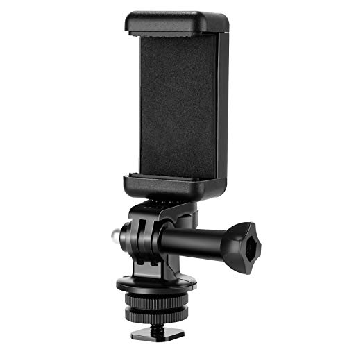 Neewer Portatelefono Kit Adattatore per Attacco Hot Shoe Compatibile con Action Camera GoPro Hero 9 8 7 6 5, DJI OSMO Action, iPhone12/11 Pro Max/X/XR, Samsung, Fissaggio su DSLR o Luce Anulare
