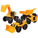 Friction Powered Construction Truck Set with Sound and Lights, Play Vehicles Tractor Set for 3 4 5 6 7 Years Old Child Kids Boys and Girls, Bulldozer, Dump, Excavator Toy