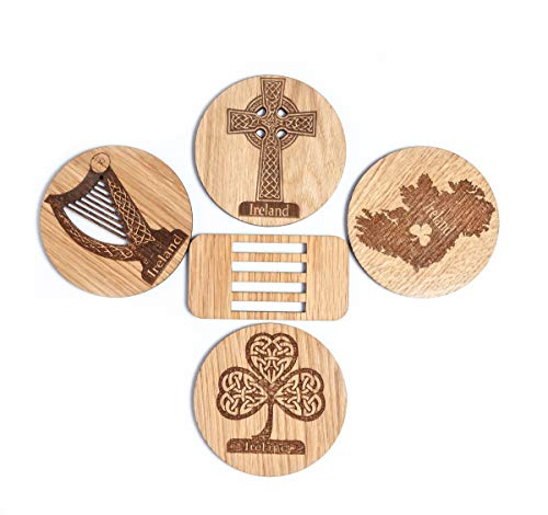 Irish Coasters for Drinks Set of Four Coasters Set Made of Irish Oak Shamrock Harp Celtic Cross Ireland Coasters Made in Ireland