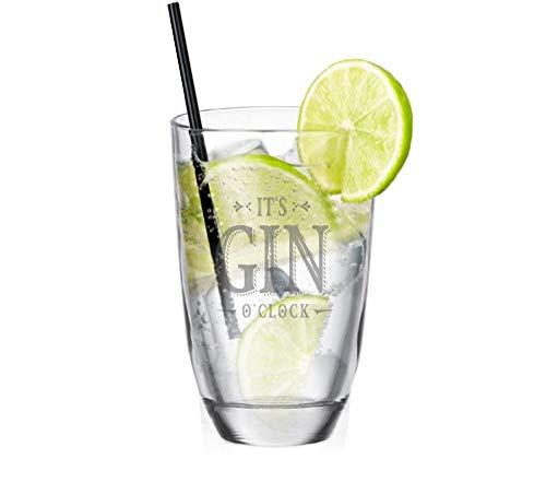 4youDesign Gin - Glas • It\'s Gin o\'clock • Geschenkidee für Gin-Liebhaber - Gin-Tonic - lustiges