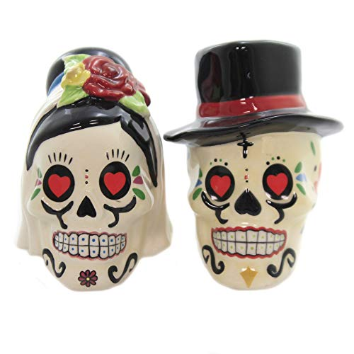 Bride and Groom Skulls Salt and Pepper Shakers