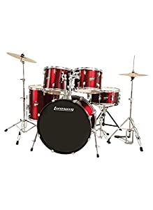 Ludwig Accent Drive 5-Pc Drum Set, Red Foil - Includes: Hardware, Throne, Pedal, Cymbals, Sticks & Drumheads