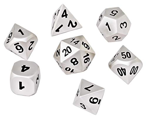 Blacksmith Craft Dice DND Dice Set 7 PCS - Metal Dungeons and Dragons Polyhedral Dice Set with D&D Dice Bag for RPG Gaming - Includes D20 - Blacksmith Craft Dice (Mithril)