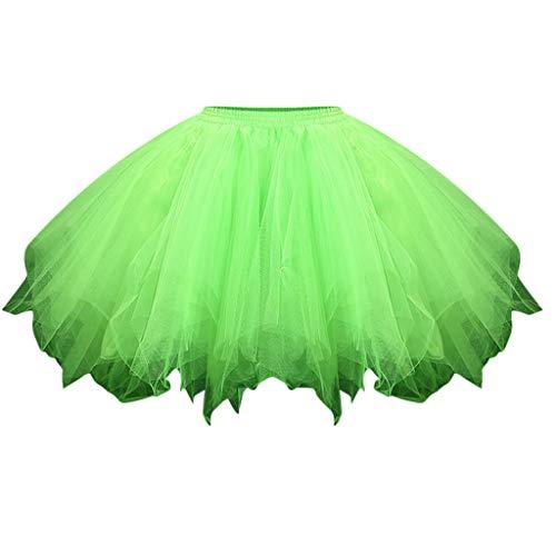 Meclelin Damen Hohe Taille A-Linie Ausgestelltes Rock Tüllrock Mehrfarbig Mesh Tutu Kurz Tanzkleid Balletttröckchen Unterkleid Elastisch
