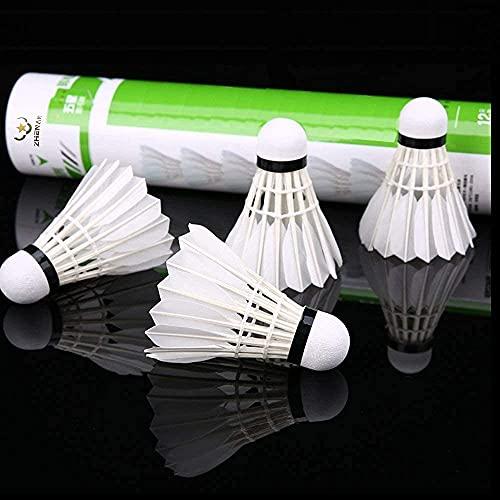 ZHENAN 12-Pack Advanced Goose Feather Badminton...