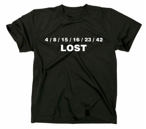 Lost Zahlen T-Shirt, 4 8 15 16 23 42 Dharma Initiative, schwarz, M