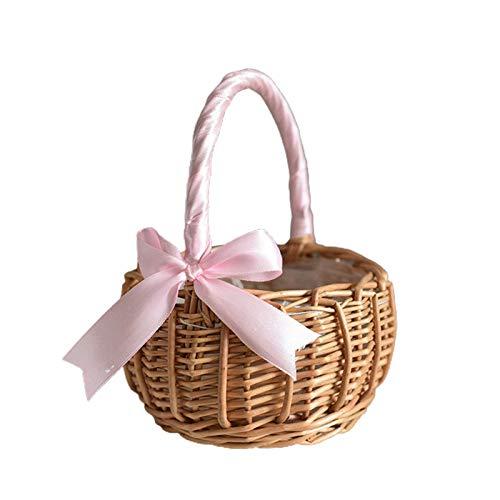 QULONG Cesta de Mimbre con Flores de ratán, cestas de Flores para Boda, Cesta Tejida a Mano de Sauce con Asas e Inserto de plástico, Cesta de Dulces Tejida para Huevos para decoración del jardín de
