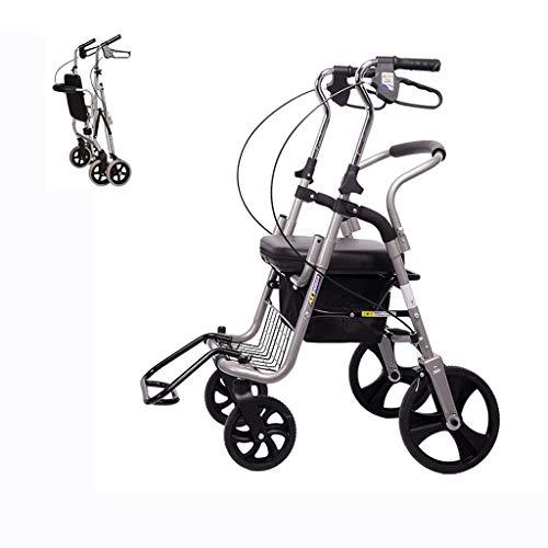 Älterer Klapprollstuhl für Oma Opa Gif Klappbarer Rollator-Rollator mit Sitz, Einkaufskorb for ältere Vierrad-Rollatoren, Rollator und höhenverstellbaren Bremsen for Transportstühle Komfortrollstuhl m