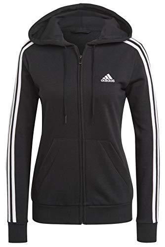 adidas Damen Fullzip Sweater Essentials Full-zip, Schwarz/Weiß, GL0792, Gr. S
