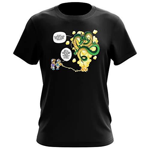 Okiwoki T-Shirt Noir Dragon Ball Z - DBZ parodique Shenron et Les pétanqueurs Marseillais : La Pétanque, C'est sacré ! (Parodie Dragon Ball Z - DBZ)