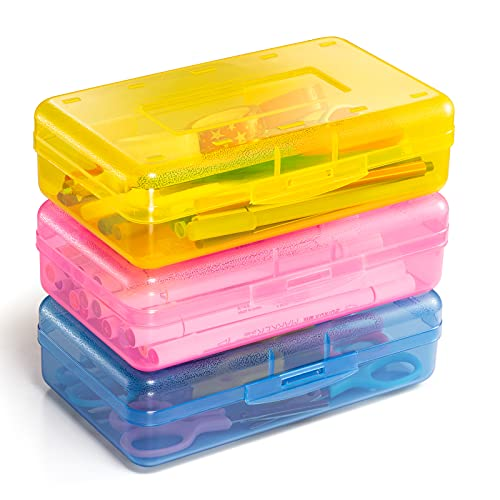 Sooez Plastic Pencil Box, Large Capacity Pencil Boxes Plastic Boxes with Snap-tight Lid, Stackable Design and Stylish Colors in Pink, Yellow and Blue, 3 Pack