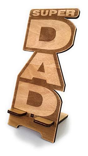 Ant Creations - Porta telefono Super Dad Idea Regalo Festa del Papà Compleanno in legno 27,5 x 8 cm Confezione regalo inclusa Universale per tutti i telefoni