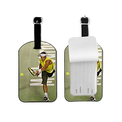 Rafael Nadal etiquetas de equipaje de cuero personalizado etiqueta de maleta set etiquetas de identificación de equipaje accesorios de viaje microfibra cuero PU 2.7 x 4.3 pulgadas
