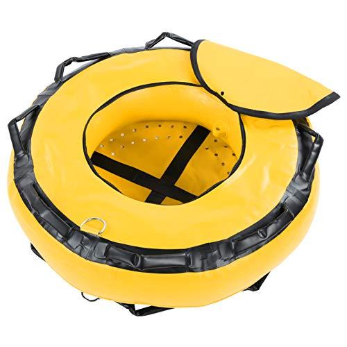 SALUTUYA Boya de Buceo sin señal de flotabilidad de Superficie de Alta Visibilidad 8 Asas ergonómicamente Suaves Portátil, para Instructores, Buceo Libre, Buceo en la Playa, Snorkel, Pesca(Yellow)