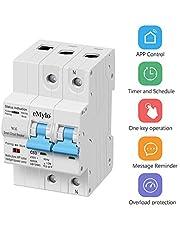eMylo Disyuntor Inteligente 1P 63A Interruptor De Circuito De Wifi Circuit Breaker Interruptor Automático Inalambrico con función de temporización y retraso compatible con Alexa y Google Home 230V
