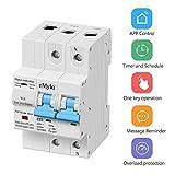 Disyuntor Inteligente WiFi 2P 63A,eMylo Interruptor De Circuito Inalambrico Smart Circuit Breaker Interruptore Diferenciales Wifi con función de temporización y retraso compatible con Alexa 230V