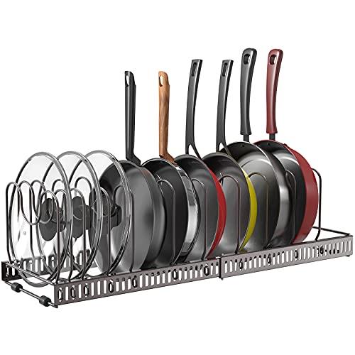Puricon Organizador de Sartenes, Ollas y Tapas, Soporte Sartenes para Armario, 10 Compartimentos Solución de Almacenamiento Flexible para Espacio Limitado en La Cocina -Marrón