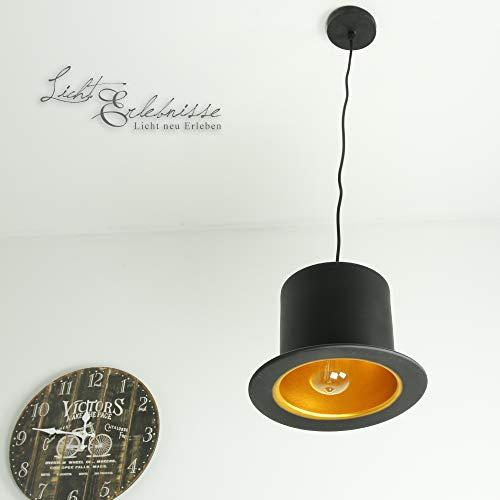 Design Pendelleuchte Schwarz Gold Zylinder Hut extravagant dekorative Hängelampe Wohnzimmer