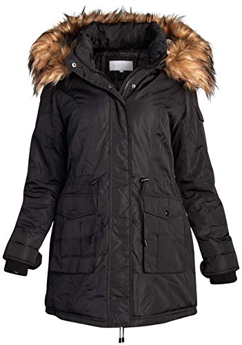 Madden Girl Women's Heavyweight Puffer Anorak Jacket with Sherpa Fur Lined Hood (Black with Fur, Large)