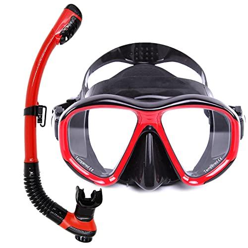 AWJ Juego de esnórquel, máscara de Buceo Profesional, máscara de esnórquel, Equipo, Gafas, Buceo, natación, Tubo de respiración fácil, Rojo