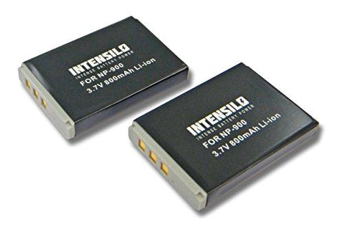 INTENSILO 2X Li-Ion Akku 800mAh (3.7V) für Kamera Camcorder Video Aldi Traveller Slimline X5, Medion MD6331 wie NP-900, Li-80B.