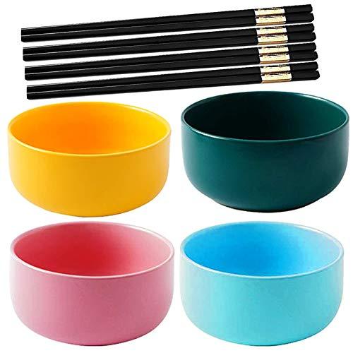 4 PCS Porcelain Cereal Bowls,Fadaar Multicolour Rice Bowls Ceramics with 4 x pair Chopsticks Soup Bowls for Pasta Salad Noodle Cereal Pink Green Blue Yellow (Multicolour)