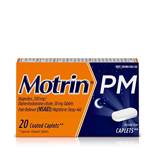 Motrin PM Caplets, 200 mg Ibuprofen & 38 mg Sleep Aid, Nighttime Relief for Minor Pains, 20 ct.