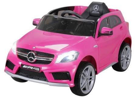 Kinder Elektroauto Mercedes Benz AMG A45 - Lizenziert - 2 x 45 Watt Motor - Ledersitz - Rc 2,4 Ghz Fernbedienung - Usb - FM Radio - Sd Karte - Elektro Auto für Kinder ab 3 Jahre (Pink)