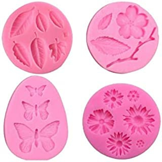 Flower Fondant Mold,Hot Chocolate Mold,Jelly Mold,Cake Decorations Mold,Polymer Clay,Cupcake Topper, Soap Wax Making Crafting Projects All-purpos,4-in-Set Butterfly,Daisy Flower,Leaves and Branch