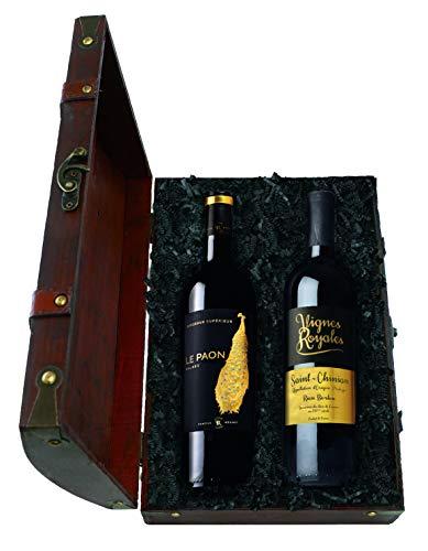 Geschenk-Schatztruhe Winzergold mit französischen Weinen, 2 x 0,75 l Rotwein