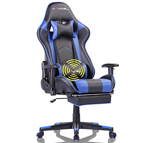 EAVANCEL Silla Gaming Sillones de Oficina Reclinable Ergonomica con Reposapies Retractil con Masaje Lumbar para Gamer (Azul)