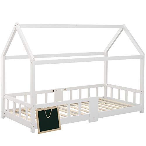 ZOEON Kinderbett 90 x 200 cm mit Rausfallschutz, Tafel - Hausbett für Kinder mädchen aus Holz im skandinavischen Haus Stil, Lattenrost | Massivholz Natur Hell Weiß