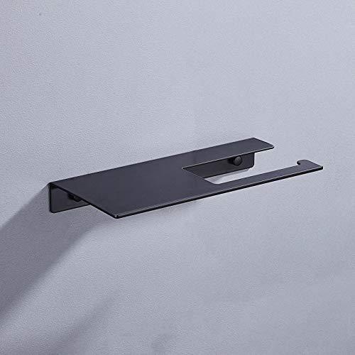 Soporte De Rollo Espacio Aluminio Estante De Baño Creativo Y Conveniente Estante De Papel para Baño / Cocina, Portarrollos De Papel Multifunción Negro