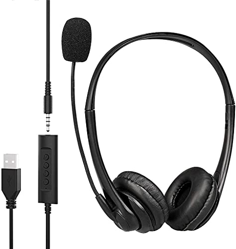 Verilux® USB Headsets with Microphone with 3.5mm Jack Mic Noise Cancelling Comfortable Light Weight Business Style for PC/Laptop Android Mobile Phone (Black)