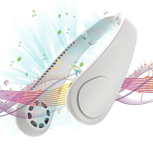 Ventilador Personal Portáti Ventilador de Cuello Colgante, Ventilador Cuello Aire Acondicionado de Manos Libres 3 Velocidades Mini USB Recargable con Doble Viento Cabeza (blanco)