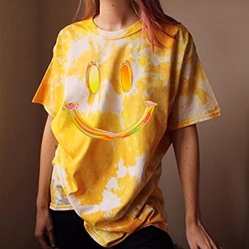New Damen Casual Rundhals Kurzarm Drucken Basic Pullover Damen T-Shirt,XXL