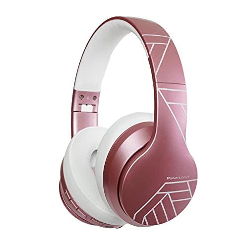 PowerLocus Auriculares Inalámbricos Diadema, Cascos Bluetooth con Micrófono Incorporado,Hi-Fi Sonido Estéreo Super Bass Audifonos Inalámbrico y con Cable para iPhone/Samsung/Móviles/iPad/PC (Oro Rosa)