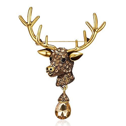 Cadoline Oro-Tono 5.5 x 7.0cm Oro Rudolph Renna Testa Cristallo Lacrima Natale Spilla Pin Nero Nuovo